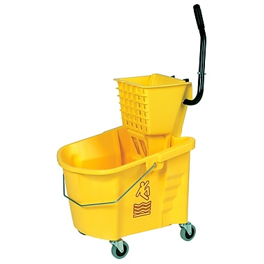 Seau de lavage jaune et une essoreuse de type raclette, 8,75 gallons