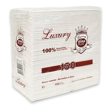 Serviettes de table de luxe 2 épaisseur, 15,5 x 16 po, 3000 serviettes/boîte