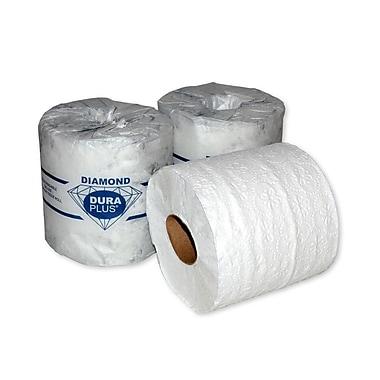 Dura Plus – Papier hygiénique blanc Diamond à 2 épaisseurs, 500 feuilles/rouleau, 48/paquet