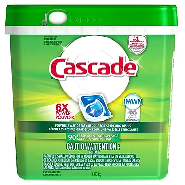 Cascade Liquid Dishwashing Detergent Action Packs 90 Units, 3 Packs/Case