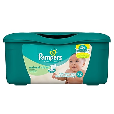 Pampers Natural Scent Tub Wipes Cs.8x72ct , 8 Packs/Case
