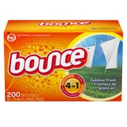 Bounce Fabric Softener Sheets Outdoor Fresh Scent, 200/Pack, 6/Packs/Case