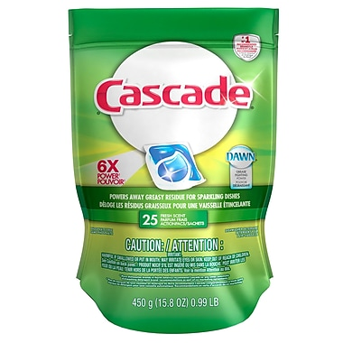 Cascade Action Pacs With Dawn Fresh Scent, 25/Pack, 5 Packs/Case