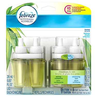 Febreze Noticeables Deodorizer Double Refills Meadows Rain Scent 52 mL, 6 Packs/Case