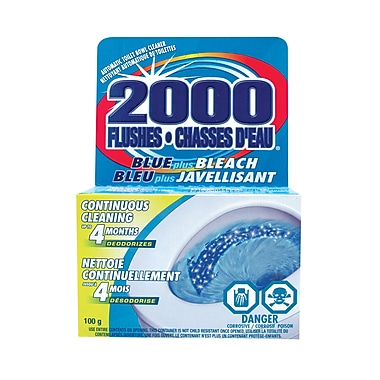 2000 Flushes Automatic Toilet Bowl Cleaner, Blue Plus Bleach, 12/Pack