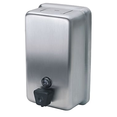 Distributeur de savon vertical à bouton-poussoir, 40 oz, acier inoxydable, chac.