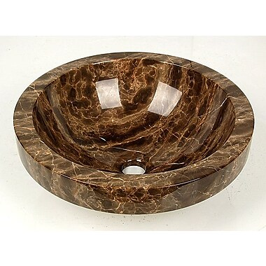 D'Vontz Natural Stone ApronCircular Vessel Bathroom Sink; Dark Emperadore Marble