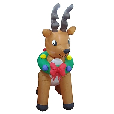 BZB Goods Animated Christmas Inflatable Reindeer Indoor/Outdoor Yard Decoration Inflatable