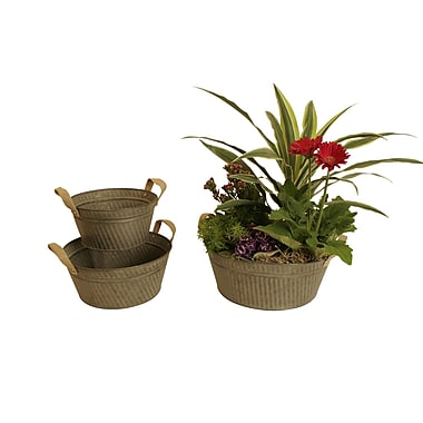 WaldImports 3 Piece Round Galvanized Bucket w/ Burlap Handle Set