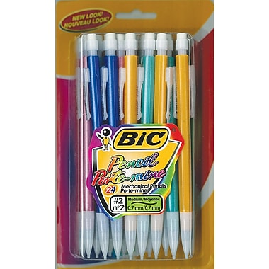 BIC® Mechanical Pencils, .7mm Lead, Assorted, 24/Pack (MPLP241-BLK)