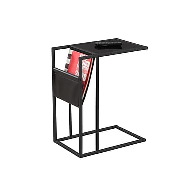 Monarch 3068 Accent Table, Black, Black Metal with a Magazine Rack