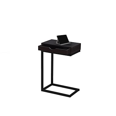 Monarch 3069 Accent Table, Cappuccino, Black Metal with a Drawer