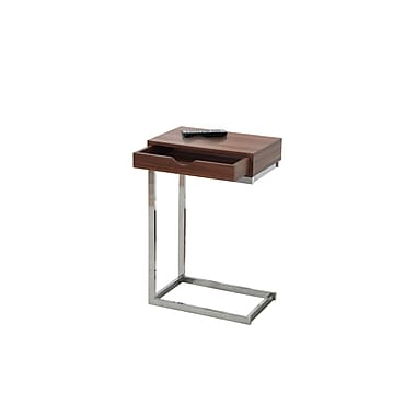 Monarch 3070 Accent Table, Walnut, Chrome Metal with a Drawer