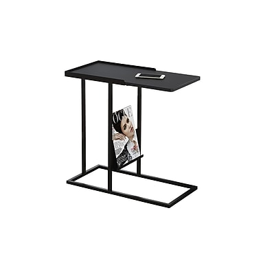 Monarch 3097 Accent Table, Black, Black Metal with a Magazine Rack