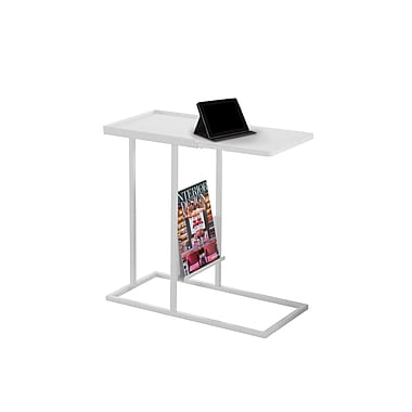 Monarch 3098 Accent Table, White, White Metal with a Magazine Rack