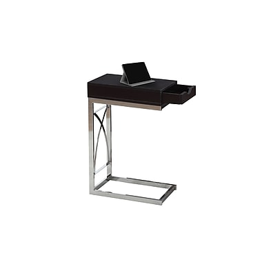 Monarch 3172 Accent Table, Chrome Metal, Cappuccino with a Drawer