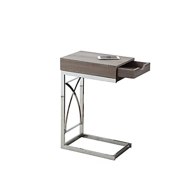 Monarch 3173 Accent Table, Chrome Metal, Dark Taupe with a Drawer