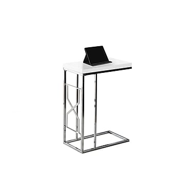 Monarch 3177 Accent Table, Glossy White, Chrome Metal
