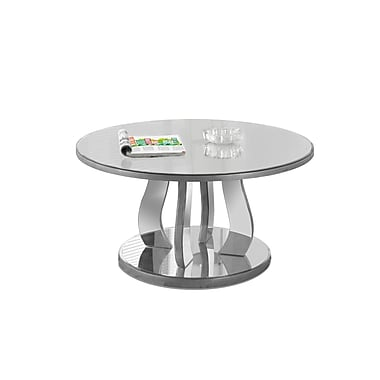 Monarch – Table à café 3725, 36 po de diamètre, argent brossé, miroitante