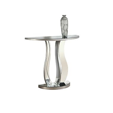 Monarch – Table console 3727, 36 long., argent brossé, miroitante
