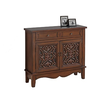 Monarch 3844 Accent Chest, Dark Walnut, Glass Traditional Style
