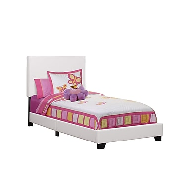 Monarch 5911T Bed, Twin Size, White, Leather-look Fabric