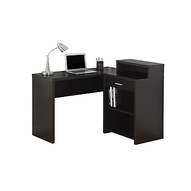 Monarch 7123 Computer Desk, Cappuccino Corner with Storage