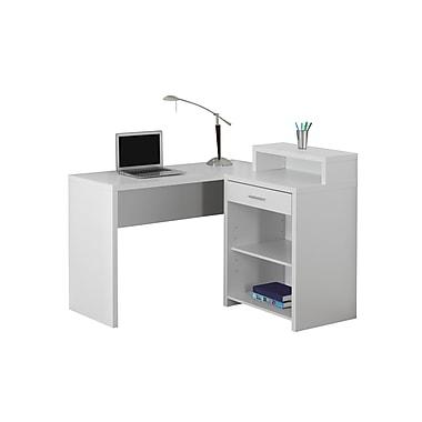 Monarch 7124 Computer Desk, White Corner with Storage