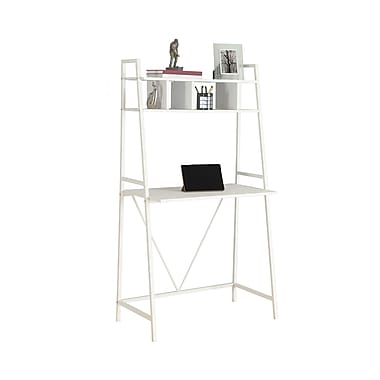 Monarch – Bureau d'ordinateur 7163, 32 po long., blanc/métal blanc