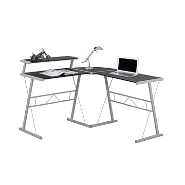 Monarch 7171 Computer Desk, Cappuccino Top, Silver Metal