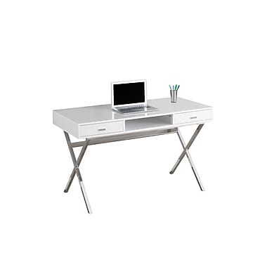 Monarch Specialties - Bureau d'ordinateur, 48 po (long.), blanc lustré, chrome métallique (I 7211)