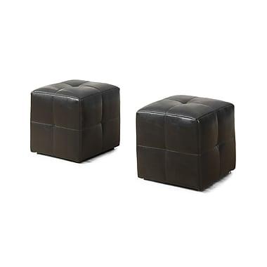 Monarch 8160 2 Piece Ottoman Set, Juvenile, Dark Brown, Leather-look