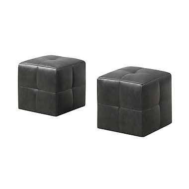 Monarch 8163 2 Piece Ottoman Set, Juvenile, Charcoal Grey, Leather-look
