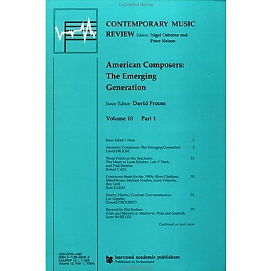 American Composers The Emerging Generation Contemporary Music Review, New Book (9783718655298)