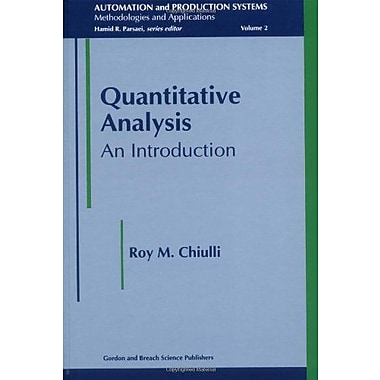 Quantitative Analysis An Introduction Automation And Production Systems, New Book (9789056996291)