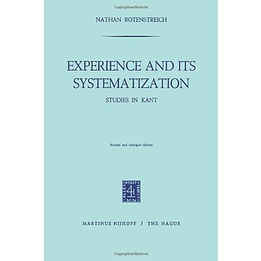 Experience And Its Systematization Studies In Kant, New Book (9789024713066)