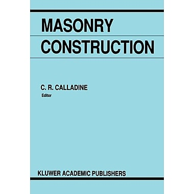 Masonry Construction Structural Mechanics And Other Aspects, New Book (9789048141722)