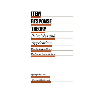 Item Response Theory Principles And Applications, New Book (9789048158096)