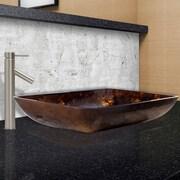 Vigo Brown and Gold Fusion Glass Rectangular Vessel Bathroom Sink; Brushed Nickel