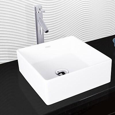 Vigo Bavaro Matte Square Vessel Bathroom Sink w/ Faucet