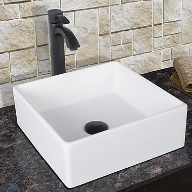 Vigo Dianthus Square Vessel Bathroom Sink w/ Faucet