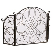 Home Loft Concepts Oxford 3 Panel Iron Fireplace Screen; Gold
