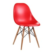 Roundhill Furniture Citytalk Solid Wood Dining Chair (Set of 2); Red