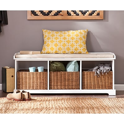 Southern Enterprises Loring Entryway Storage Bench, White (BC4017)