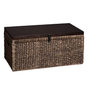 """Southern Enterprises 17"""" Water Hyacinth Woven Storage Trunk, Blackwashed with Espresso (CK0124)"""