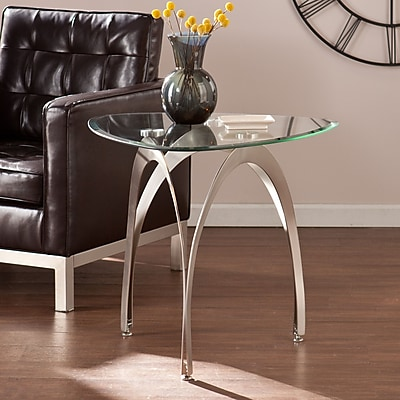 Southern Enterprises Marin Metal End Table, Clear Glass, Each (CK0572)
