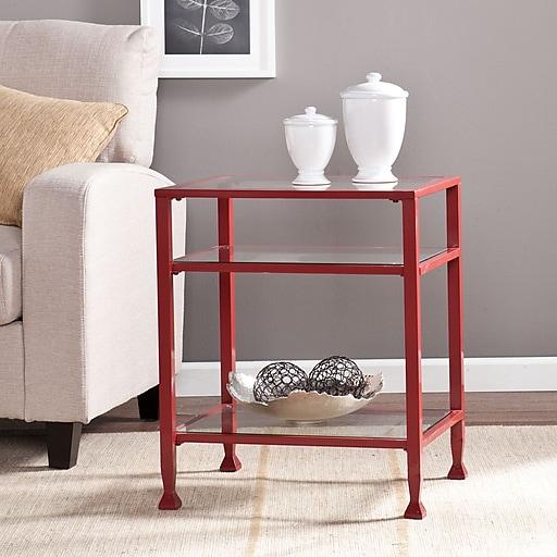 Southern Enterprises Metal/Glass End Table, Red (CK2772)