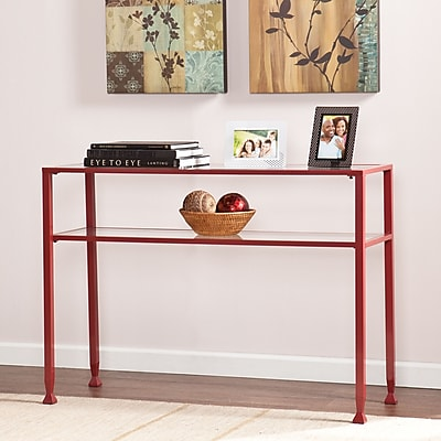 Southern Enterprises Metal/Glass Console Table, Red (CK2773)