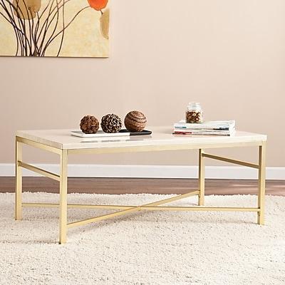 Southern Enterprises Orinda Faux-Stone Cocktail Table, Travertine (CK3940)