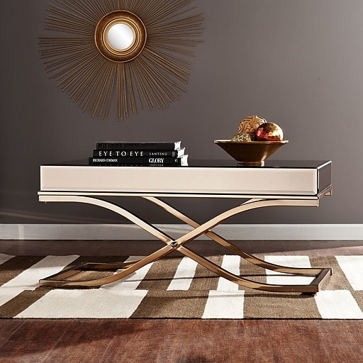 Champagne Mirrored Coffee Table: Southern Enterprises Ava Mirrored Cocktail Table